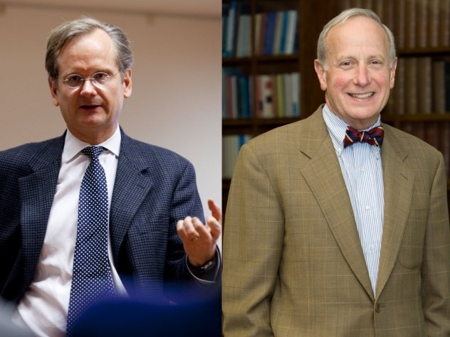 From left, Lawrence Lessig and Malcolm Salter