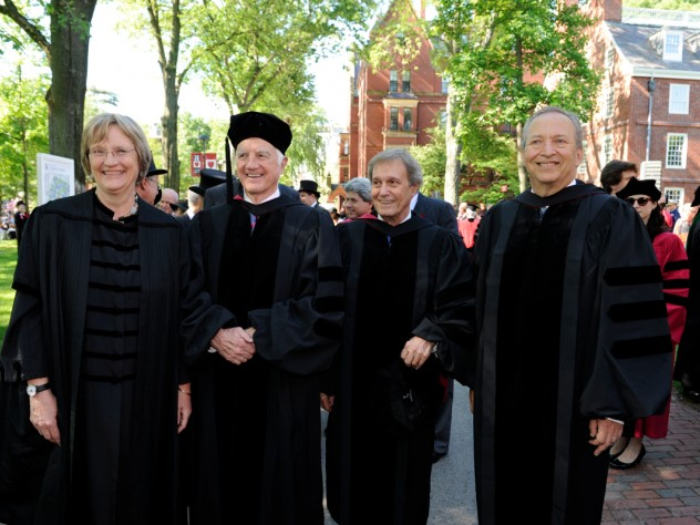 Together for the University's 375th-anniversary year Commencement, all of Harvard's living presidents: Drew Faust (2007-present), Derek Bok (1971-1991, 2006-2007), Neil Rudenstine (1991-2001), Lawrence Summers (2001-2006)