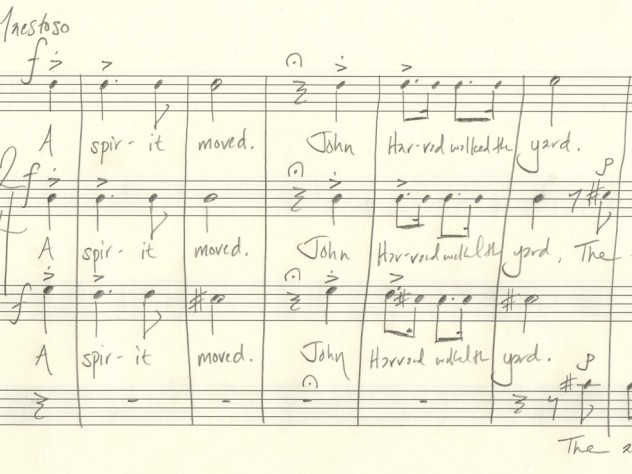 """Beaudoin's manuscript sketch of the introductory measures of """"Villanelle for an Anniversary"""""""