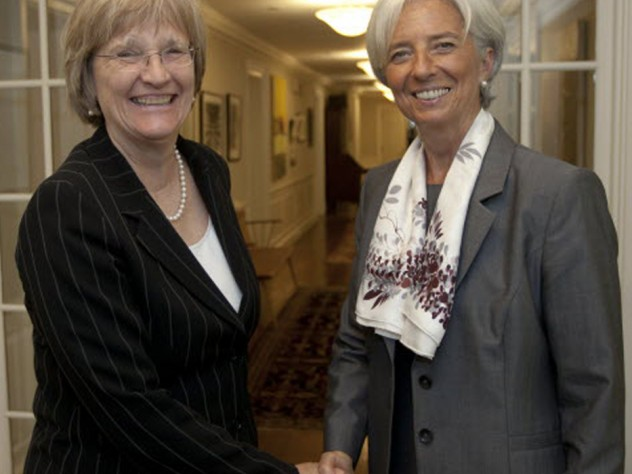 Kennedy School commencement speaker Christine Lagarde, managing director of the International Monetary Fund, visited President Faust at Massachusetts Hall during her trip to Harvard..