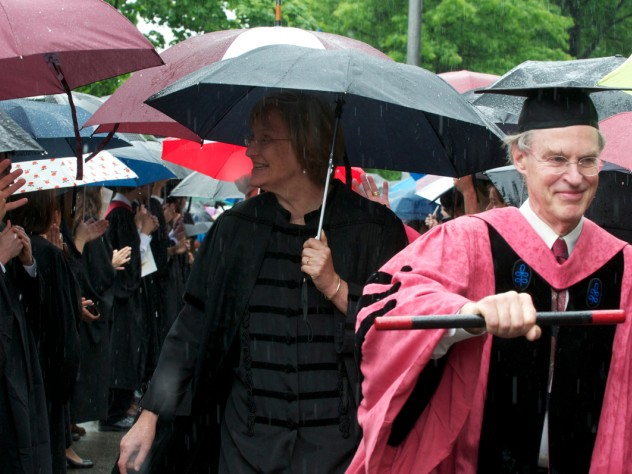 An umbrella for President Drew Faust during the Phi Beta Kappa procession to Sanders Theatre