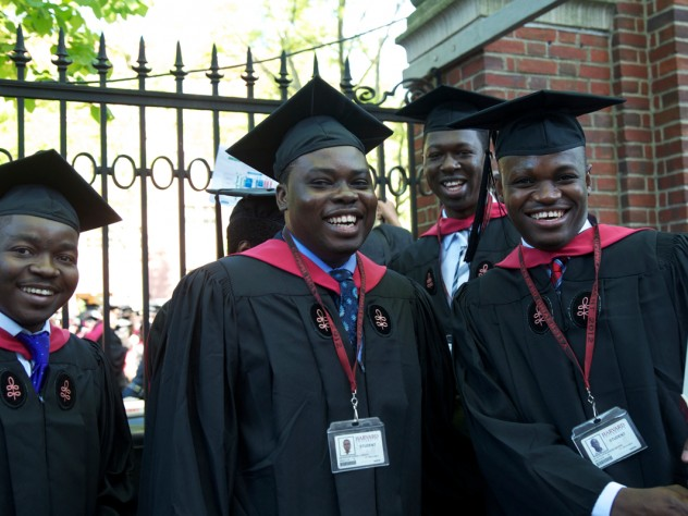 Harvard School of Public Health students queue up for Commencement.