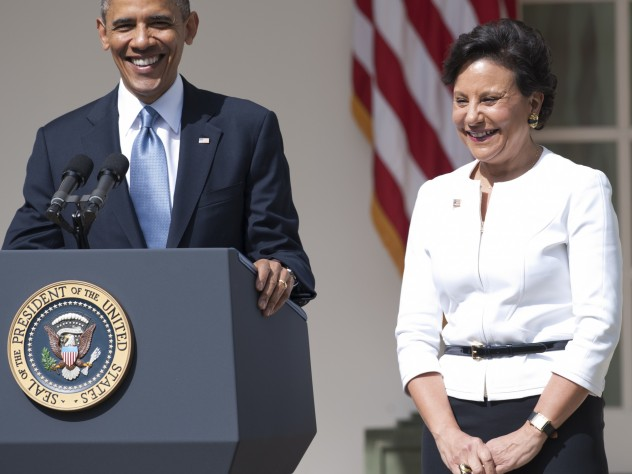US President Barack Obama announces his nominee for Secretary of Commerce, Penny Pritzker, during an event in the Rose Garden of the White House in Washington, DC, on May 2, 2013.
