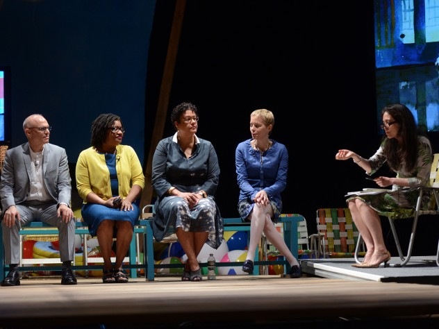 Artists Mark Robbins, Beverly McIver, Elizabeth Alexander, and Augusta Read Thomas, with moderator Diane Paulus, onstage at the Loeb Drama Center