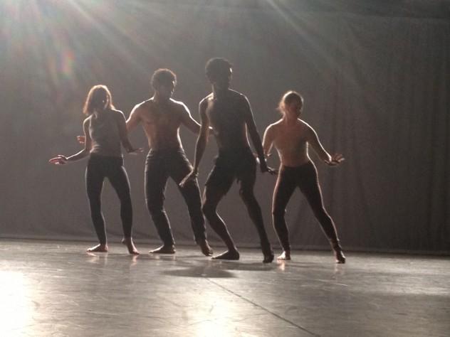 "Harvard dancers Rebecca Neumann, Rossi Walter, Nazc-a-ru Gonzalez, and Halimeda Glickman-Hoch perform ""Quartet for the End of Time."""