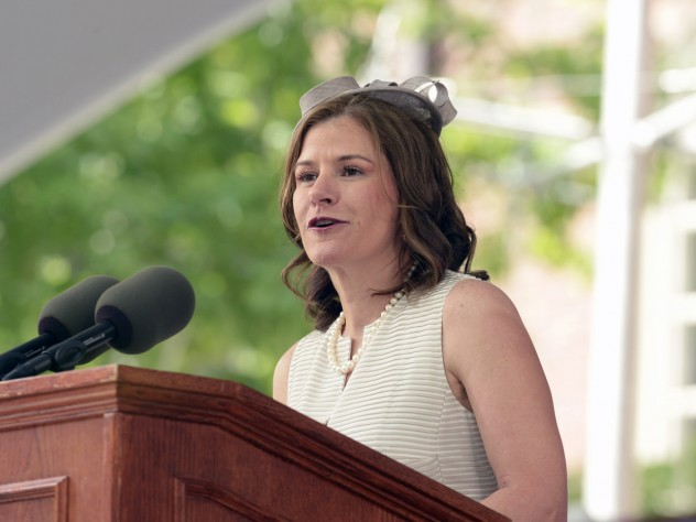 Harvard Alumni Association president Catherine A. Gellert at the podium during the afternoon program—evidence that you don't have to be British to sport a fascinator.