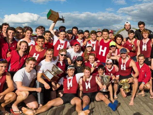 The Harvard squad celebrates at Quinsigamond