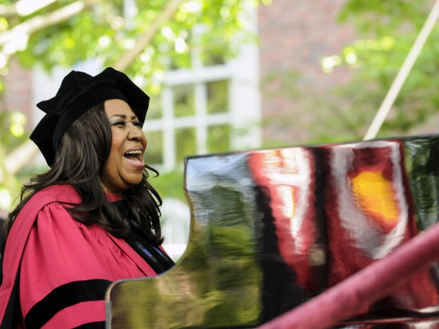 Aretha Franklin, the Queen of Soul, and soon-to-be honorary Doctor of Arts, sings the national anthem.
