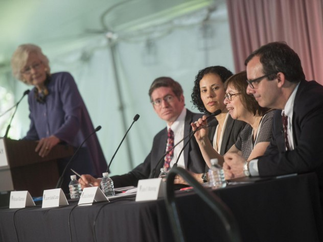 Margaret H. Marshall (at podium), Michael Klarman, Lauren Sudeall Lucas, Linda Greenhouse, and John Manning