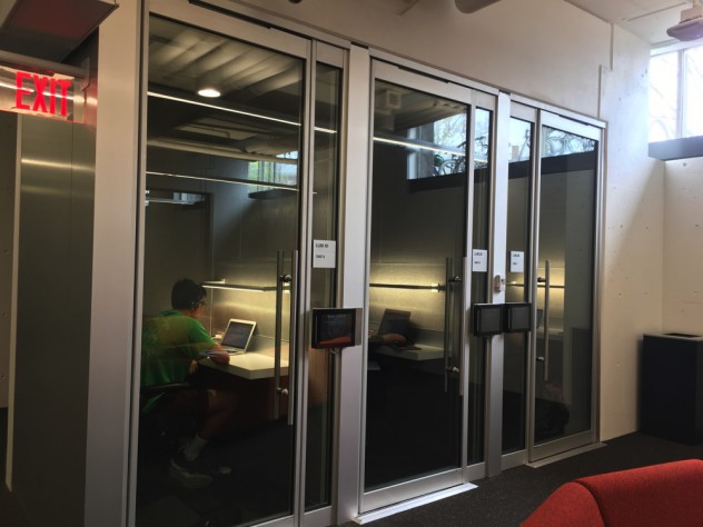 Students hard at work in soundproof study pods