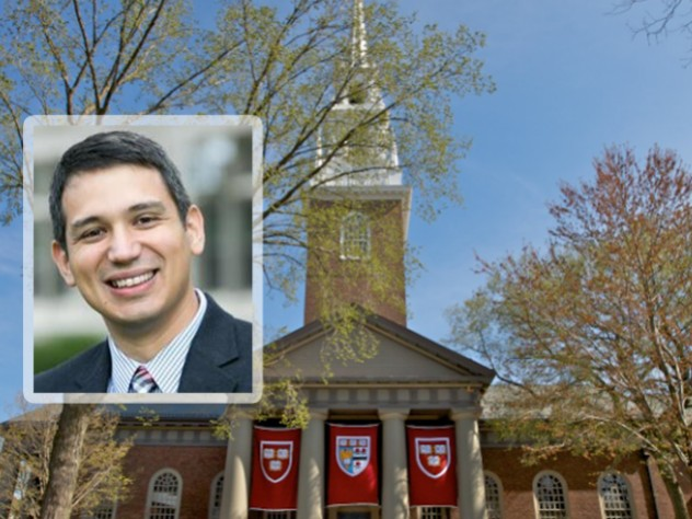 Matthew Potts portrait over photograph of Memorial Church in the background