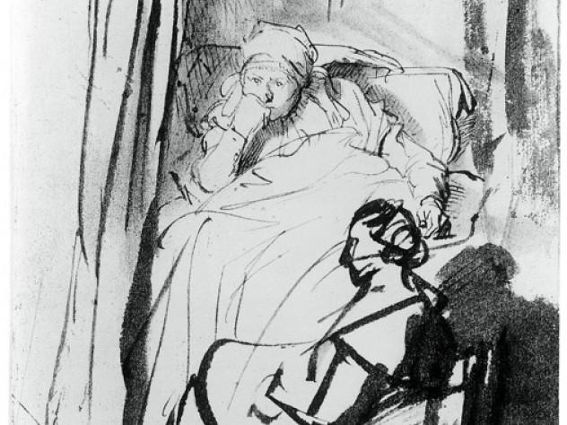 Rembrandt Harmensz van Rijn, <i>Saskia in Bed, a Woman Sitting at her Feet</i> (1635)