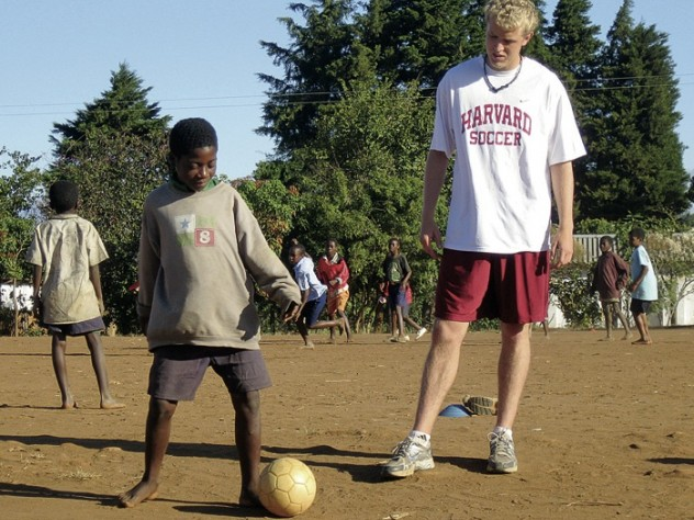 Varsity midfielder Adam Rousmaniere '10 also volunteered with the program last summer, in Malawi.