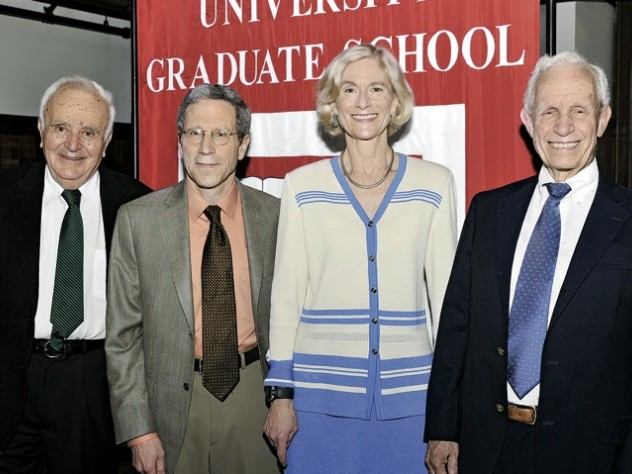 The 2010 honorands are (from left) Stephen Fischer-Galati, Eric Maskin, Martha Nussbaum, and David Bevington.