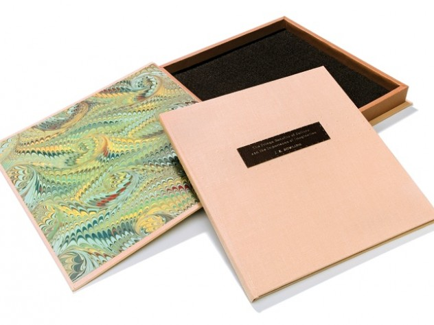 This special edition of J.K. Rowling's Commencement address, with wooden case and hand-embossed Braille  (below), was crafted by Francie Randolph (left).