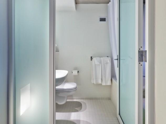 Modern, spare look of new Kripalu bathroom
