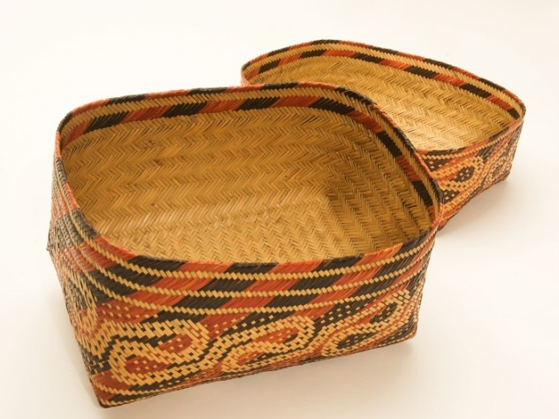 """The interior of the """"Alligator Guts"""" patterned basket, displaying the intricate double-weave technique that produces a basket in two continuous layers of cane, one inside the other"""