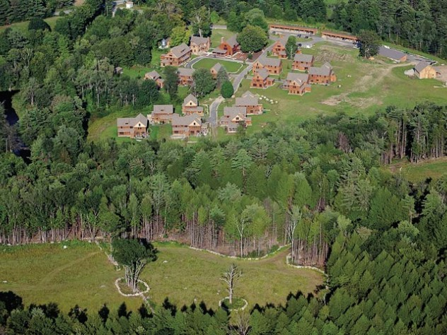 A bird's-eye view of the Nubanusit complex reveals the benefits of cluster housing for land conservation