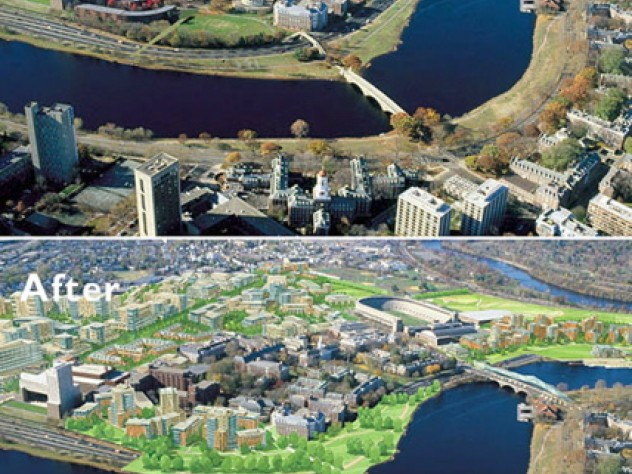 Before and after views centered on the Business School campus show how new development might appear. Shuttle buses could cross the Weeks footbridge once Soldiers Field Road is covered.