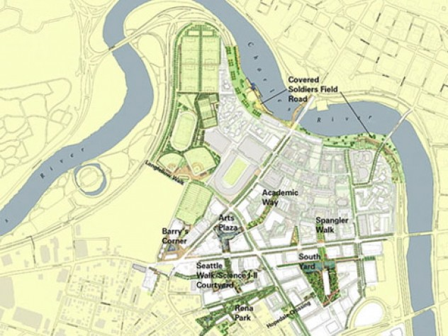 """The open-space framework includes """"greenways,"""" landscaped paths linking distinct sections of the campus."""