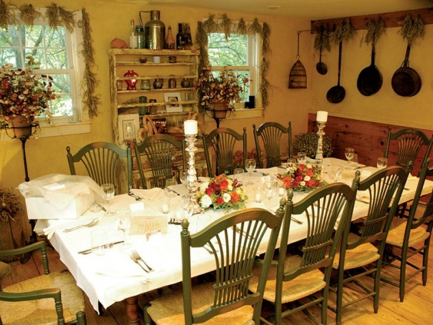 Meals are served at two communal tables in the restored barn.