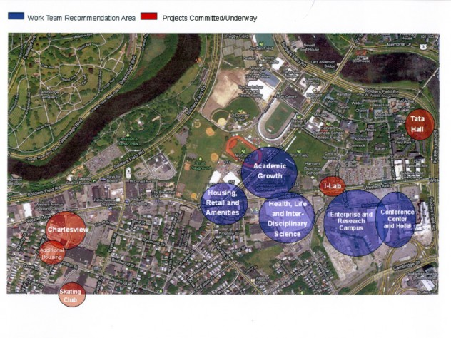 """A map of projects under way and projects recommended by the Allston Work Team (<a href=""""http://harvardmagazine.com/sites/default/files/allston-plans-2011.png"""">View larger map</a>)"""