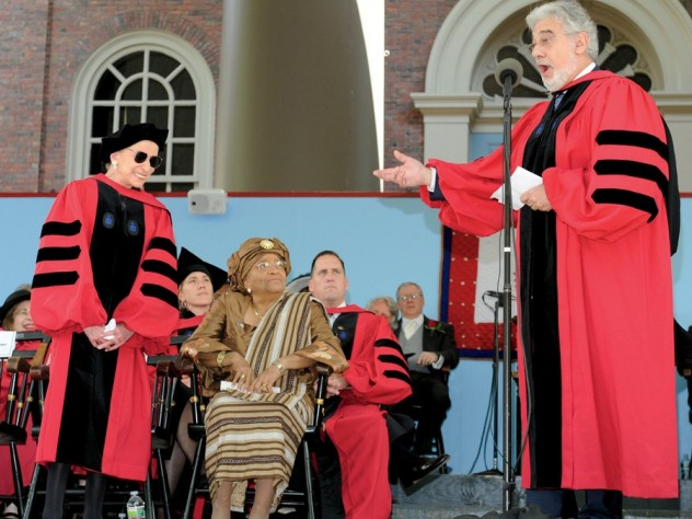 Supreme singer: Tenor Plácido Domingo serenades fellow honorand Ruth Bader Ginsburg, an opera fan, to conclude the conferral of her degree.
