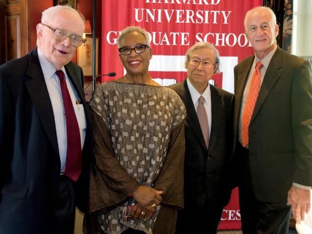 From left to right: Richard Wall Lyman, Nell Irvin Painter, Heisuke Hironaka, and Jeffrey Alan Hoffman
