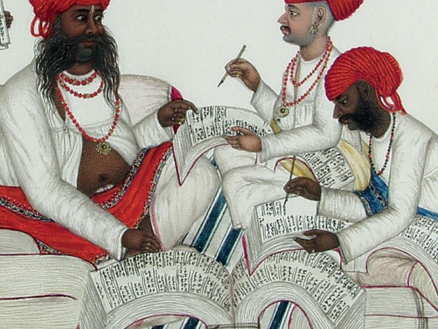 <i>Bankers Receive News from a Dak Runner</i> (detail), India, c. 1850, at the Harvard Art Museums