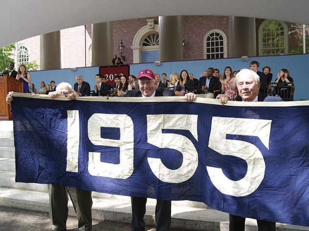 """</b> The Class of 2012 has revived the """"class color"""" tradition (see """"<a href=""""http://harvardmagazine.com/2009/11/harvard-class-colors-and-trademark-clothing"""">Curious Colors</a>""""); theirs is blue. On Class Day, members of the class of 1955 displayed their class banner (also blue) to honor the graduating seniors and guest speaker Barney Frank, whose College class (1961) is blue, too."""