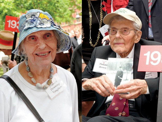 Frances Downing Vaughan '44 and Donald F. Brown '30 (holding a photo of himself on his graduation day)