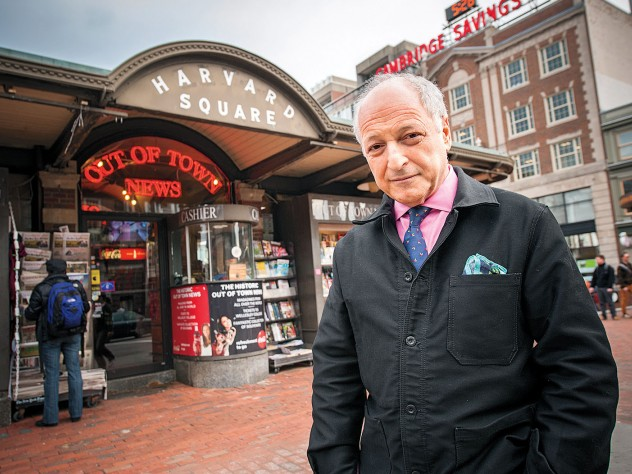 novelist André Aciman in the center of Harvard Square