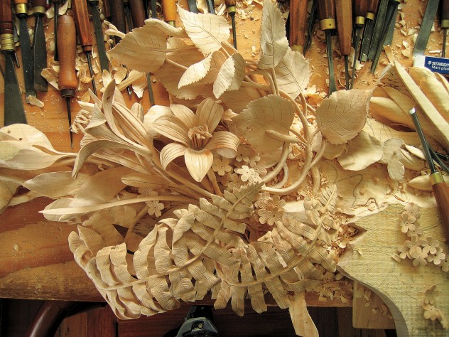 A work in progress on the carving bench