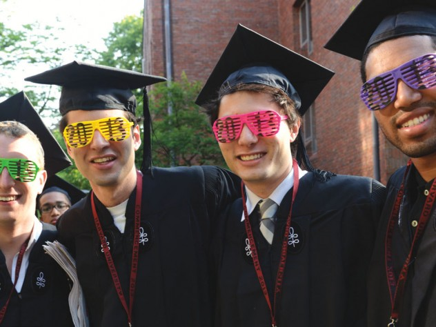 Nearing the end of the rainbow: Winthrop House comrades and imminent graduates (from left) Nicholas L. Moore, Andrew K. Cohen, Blaine Bolus, and Yusef Jordan