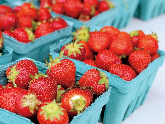 fresh strawberries at the Harvard Farmers' Market