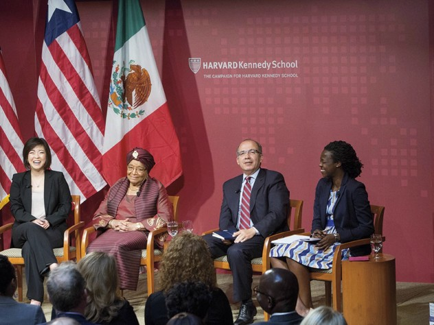 M.P.P. candidate Jieum Baek; Liberian president Ellen Johnson Sirleaf; former Mexican president Felipe Calderón; M.P.A. candidate Amandla Agoro Ooko-Ombaka