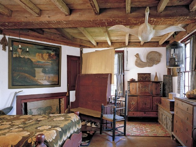 American artifacts fill the home; a bedroom highlights the birds especially loved by pioneering collector Nina Little.