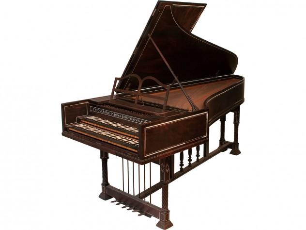 "Harvard's 1906 Dolmetsch harpsichord has two keyboards, or ""manuals."""