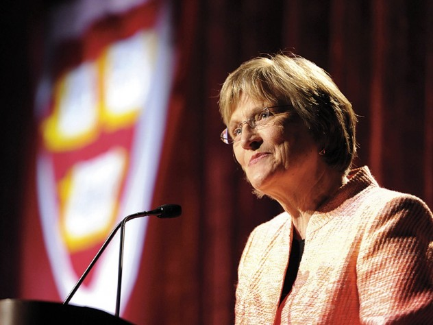 President Drew Faust outlining campaign priorities aboard the <i>Intrepid</i> on May 14