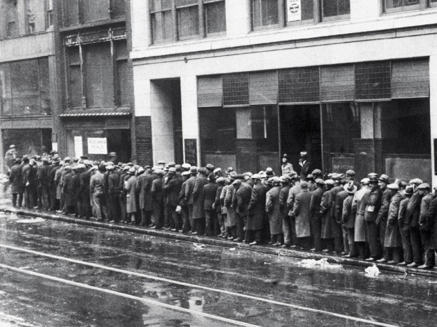 A disaster made worse by ill-informed policies: unemployed workers on a Great Depression bread line, c. 1930