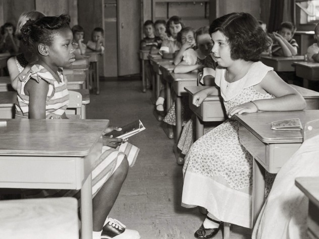 The first day of Defense Department-mandated desegregation at Fort Myer's elementary school, September 8, 1954