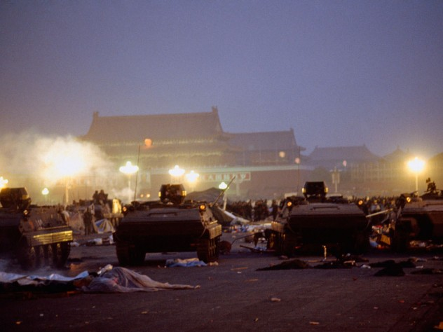 "The aftermath of idealism: Tiananmen Square cleared, June 4, with violence and overwhelming military force used to put down what the government called a ""counterrevolutionary riot"""