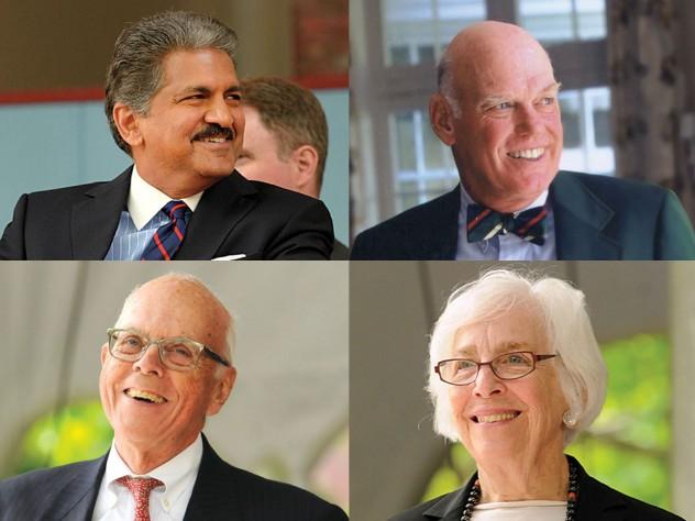 Clockwise from top left: Anand G. Mahindra, J. Louis Newell, Emily Rauh Pulitzer, John P. Reardon Jr.