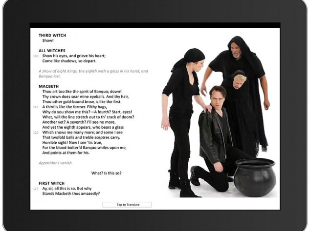 In the e-book version of <i>Macbeth,</i> the witches&rsquo; dark mischief unfolds beside the text.