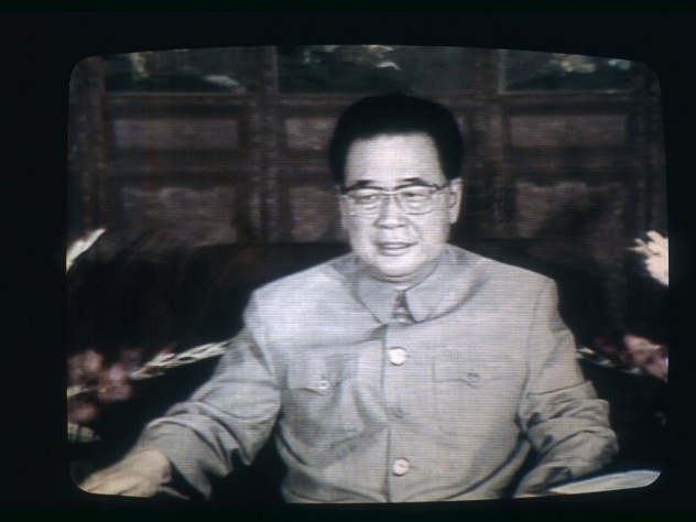 Premier Li Peng, who became the face of state repression of the democracy movement, on Chinese television, June 19