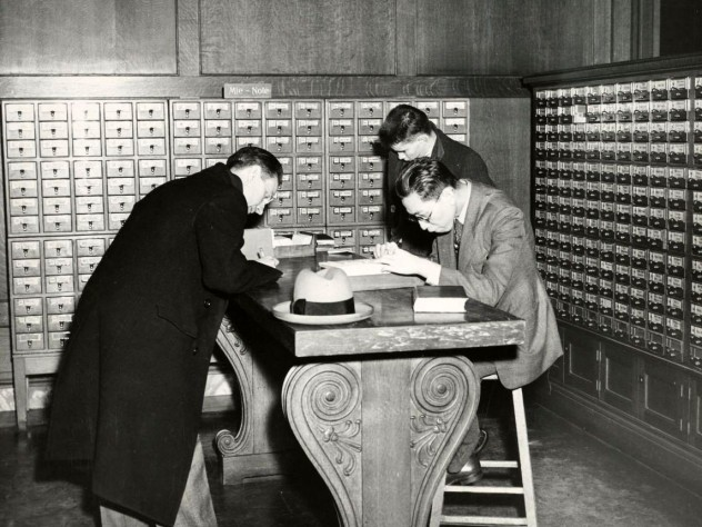 Before HOLLIS, students had to consult row upon row of card catalogs to find a book's call number.