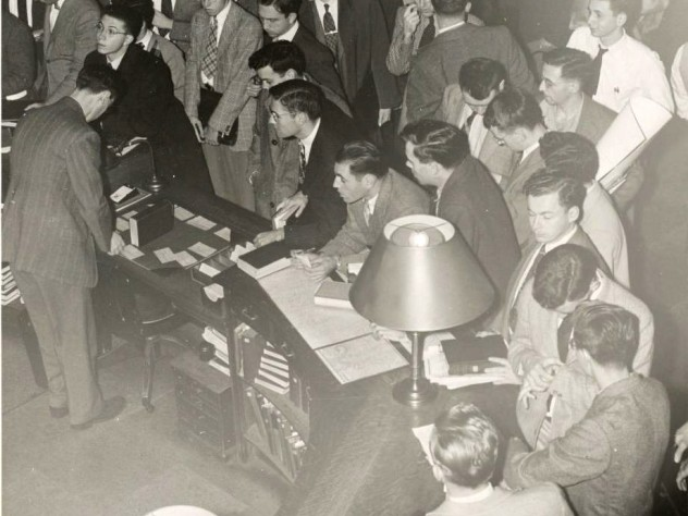 In Widener's first decades, most undergraduates were not allowed into the stacks, creating long lines at the circulation desk during the busiest hours.