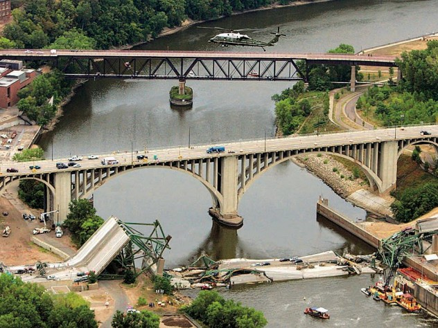 The I-35 bridge collapse in Minneapolis (2007), resulting from a design flaw and heavy loads