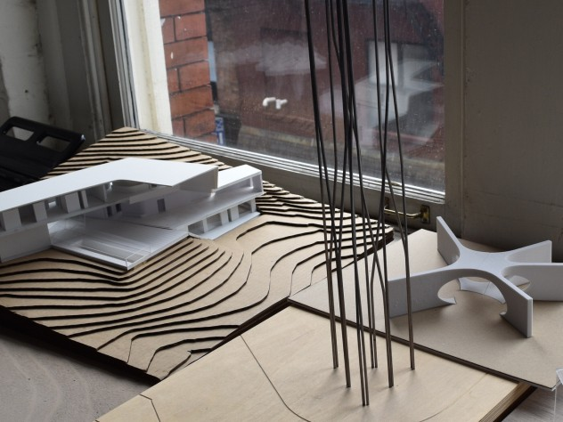"The model for ""Crisscross Signal Spire,"" a sculpture that will be erected in Dudley Square, Boston"
