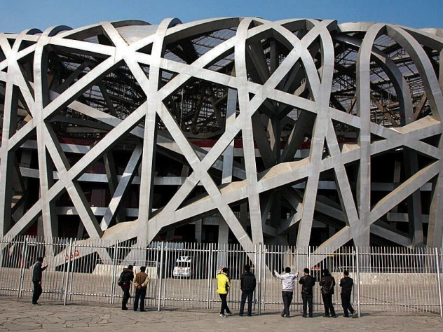 From the 2008 Beijing Olympics, the iconic Bird's Nest Stadium, now fenced off and in only occasional use